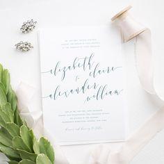 Romantic Calligraphy Wedding Invitations in Navy Blue