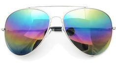 Large Mirrored Aviators in Rainbow | $11.99 at RetroCitySunglasses.com