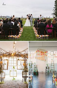 Paper heart aisle markers: 100 Layer Cake  Woodsy Ceremony Backdrop: SMP  Ceremony Tassles: SMP