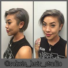 Rooty grey undercut textured bob @rokcia_hair_studio