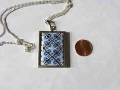 Blue diamond needlepoint pendant. Needlepoint by FlossAndGems