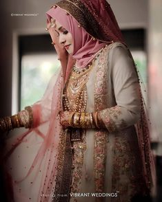 Such a beautiful and Flawless Bridal look! - Best Picture For fashionista style For Your Taste You are looking for something, and it is going to tell you exactly what you are looking for, and you did Bridal Hijab Styles, Asian Bridal Dresses, Asian Wedding Dress, Muslim Wedding Dresses, Wedding Dresses For Girls, Bridal Outfits, Girls Dresses, Muslim Brides, Pakistani Dress Design