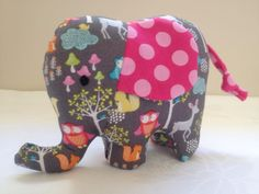 A soft toy designed perfectly for little people to hold in their little hands. Each elephant has hand stitched eyes, a tail, floppy ears and a lovely curved trunk and is a gorgeous unique gift made from modern bright fabric!