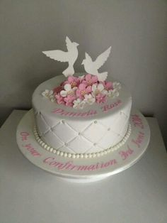 Dove Confirmation Cake on Cake Central Christian Cakes, First Holy Communion Cake, Confirmation Cakes, Baptism Cakes, Religious Cakes, Cupcake Cakes, Cupcakes, Single Layer Cakes, First Birthday Cakes