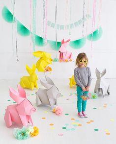 Giant origami bunny DIY on ohhappyday.com