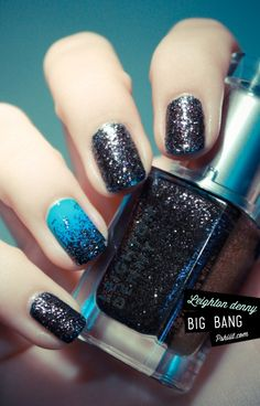 blue with black glitter gradient nail art