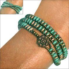 SuperDuo Turquoise Apollo Zippy Wrap Bracelet
