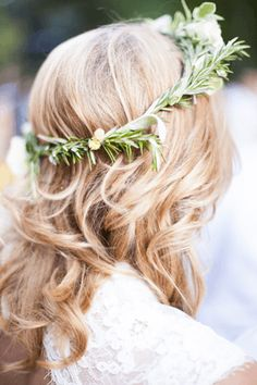 rosemary crown - I like the idea of something organic in the hair, but maybe not a wreath.  part of this in the hair would be pretty though!