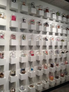 Every Fame employee puts a piece of herself in a jar--a coffee cup or hair dye or shredded credit cards. Could be a cool design element at home, too--clutter becomes art when you add clear jars and white perches.
