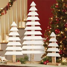 3 sizes. Painted mango wood slats form primitive tree shapes for use as table, buffet or shelf Decor. Wood base.