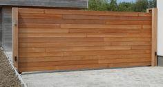 Automatische opritpoort in afzelia hout