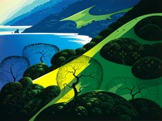 Out of the sea a magic beyond dreams  rises and hurtles upwards to the sky  covered with holly sage and oak and pine  Range after range out of the ocean brine ~Eyvind Earle