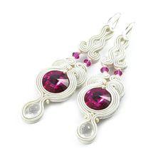 Bridal long dangle earrings soutache earrings, Swarovski crystal earrings, embroidery handmade jewelry earrings, white red earrings