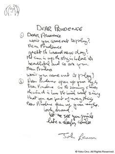 """lyrics to """"Dear Prudence,"""" signed by John Lennon Beatles Song Quotes, Beatles Love Songs, Lyric Quotes, Song Lyrics, John Lennon And Yoko, The White Album, Love Me Do, Album Songs, Music Is Life"""
