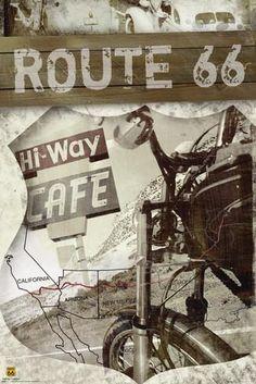 Route 66 - Map Pósters en AllPosters.es