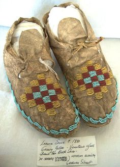 Late 1800's Native American Sioux Northern Plains Beaded Moccasins |