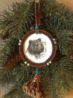 Beautiful Grizzly Bear Snuff Lid Ornament on Etsy, $20.00