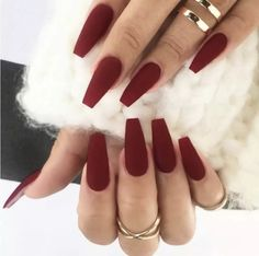 Ad: Matte Coffin Fake Nail With Tape. Tags: Burgundy, ABS, False Nails nails nails nails nails for teens fall 2019 fall autumn fake nails nails natural Coffin Nails Matte, Aycrlic Nails, Cute Acrylic Nails, Matte Maroon Nails, Burgundy Acrylic Nails, Acrylic Nail Designs Coffin, Dark Red Nails, Red Ombre Nails, Colored Acrylic Nails