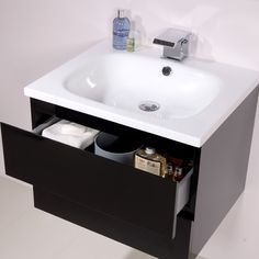 Barcelona 600 Black Vanity Unit - Black And White Bathroom Ideas - Black And White Vanity Unit - Better Bathrooms White Vanity Unit, Basin Vanity Unit, Basin Unit, Black Vanity, Vanity Units, Small Bathroom Storage, Bathroom Sets, Better Bathrooms, Amazing Bathrooms