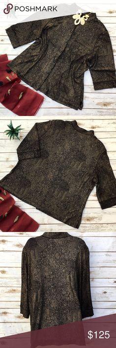 b6b9c72f6a7 Vikki Vi Long Plus Size Black   Gold Top   Jacket Classic black jacket with  gold print