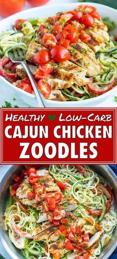 Healthy Noodle Recipes, Zucchini Noodle Recipes, Zoodle Recipes, Chicken Zucchini, Healthy Low Carb Recipes, Low Carb Dinner Recipes, Healthy Dishes, Zucchini Noodles, Healthy Eating