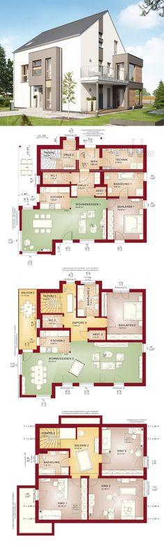 Zweifamilienhaus mit Satteldach und Maisonette Wohnung - Haus Grundriss Celebration 275 V2 Bien Zenker Fertighaus - HausbauDirekt.de