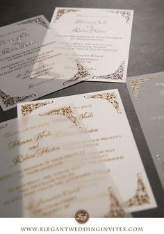 translucent vellum wedding invitation with raised uv printing technology and classic pattern corners EWUV034