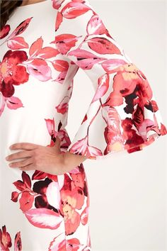 59da11a12cdf Floral Flute Sleeve Scuba Dress in Pink - Roman Originals UK
