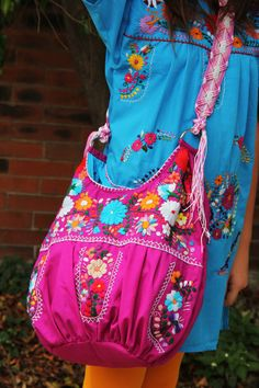 Purple with Multi colored hand Embroidered Huipil Boho Travel tote Mexican Fashion, Mexican Outfit, Mexican Dresses, Korean Fashion, Mexican Embroidery, Folk Embroidery, Vintage Embroidery, Boho Bags, Fabric Bags