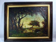 http://stores.ebay.com/mariasantiqueandvintage Vtg 1960's Original Korean Oil Canvas Painting Scenic Landscape Livestock Asian #Asian