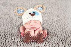 Puppy Hat .. newborn dog hat .. puppy beanie .. newborn photo prop .. doggie and bone hat set .. NEWBORN SIZE via Etsy