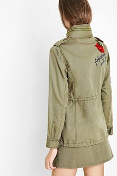 Fashion Desigual military green parka.