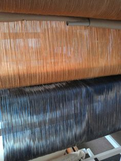 The two warps wound onto the loom