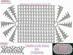 EU TAMBÉM CROCHETO...: Tapete Oval Rosa de Trapilhos