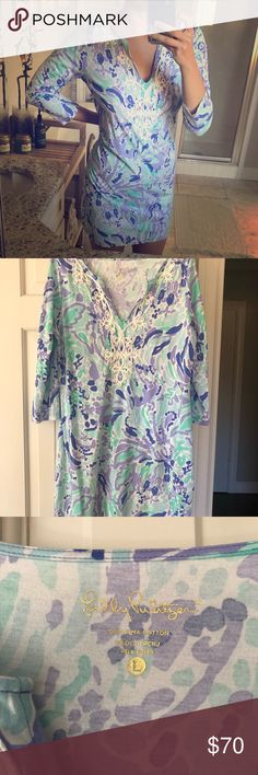 Lilly Pulitzer Marina dress in Nice Ink Gently worn only 2 times, this dress has been washed on the gentle cycle and dried flat. There are no flaws ok this dress. It is too big for me now or else I wouldn't sell it. The colors are a mint/green/blue and purple. It's gorgeous in person! Lilly Pulitzer Dresses Mini