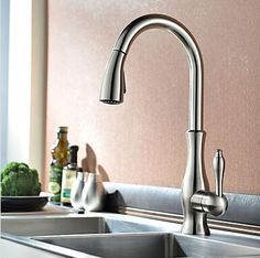 Contemporary Brass Brushed Nickel Kitchen Pull Out Mixer Sink Tap TA428N