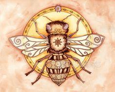 Honey+Bee+Mandala++Watercolor+Painting+Print+11x14+by+StarwoodArts,+$25.00