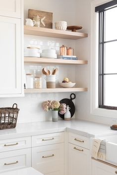 Neutral white and wood kitchenYou can find Open shelving and more on our website.Neutral white and wood kitchen Home Decor Kitchen, Kitchen Interior, Home Kitchens, Kitchen Shop, Kitchen Ideas, Diy Kitchen, Kitchen Tools, Kitchen Gadgets, Kitchen Shelf Inspiration