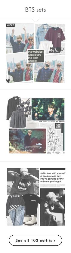 """""""BTS sets"""" by rabenspoetter ❤ liked on Polyvore featuring Uniqlo, H&M, Converse, botbtsb, Wood Wood, Buffalo, Illustrated People, J.Crew, Dr. Martens and Club Monaco"""