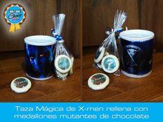 Taza mágica de cerámica de X-men, rellena con medallones mutantes #ChocoGeek