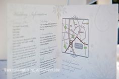 Inside of the silver and white christmas snowflake winter wonderland wedding invitation, includes map and gift list details www.fuschiadesigns.co.uk.