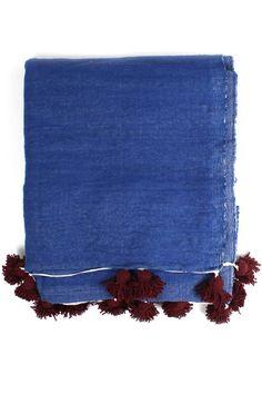 "Large Indigo Wool Pom Pom Blanket $264.00 79"" x 118"""