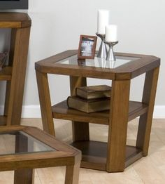 Jofran 053-3 - Ernie'S Elm End Table with 2 Shelves Glass Top | Sale Price: $253.00