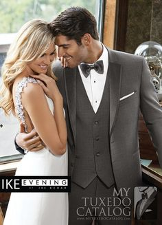 """<p style=""""text-align: left;""""><span style=""""font-size: medium;"""">The Sharkskin Grey 'Grayson' Tuxedo by Ike Behar Evening is a beautifully made formal ensemble that fills a specific and growing need in our rental tuxedo offerings. We have grey tuxedos. We have slim fit tuxedos. But this style is our first slim fit grey tuxedo! Featuring a 2 button front, satin notch lapels with self trim, satin besom pockets, and fashioned from luxuriously soft medium grey Super 120's Wool, this tuxedo is…"""