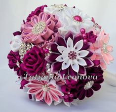 Brooch bouquet 7 inches. Original handmade Wedding Bouquet in burgundy, fuchsia, pink, purple and white. Flowers made ​​of satin ribbon, decorated with