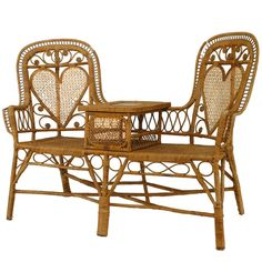 French Victorian natural wicker tete-a-tete/conversation seat with 2 woven heart shaped back panels centered with a white marble top table with seat cushions Antique Sofa, Antique Furniture, Rattan Furniture, Home Furniture, Art Nouveau, Oriental Furniture, Coffee Table Design, Miniature Furniture, Victorian Homes