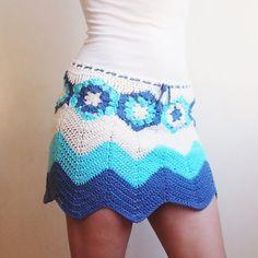Crochet Pattern skirt granny hexagon skirt waves por Accessorise