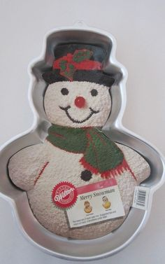 1989 Wilton Snowman Cake Pan- coconut body and cherry nose!