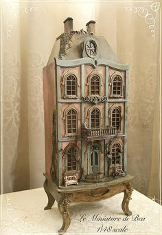 OOAK 1/48 wooden antiche french lordly house empty hand made