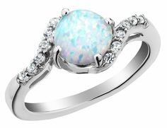 2904fb2cb7bca Created Opal Ring with White Sapphire Carat (ctw) in Sterling Silver. My  birthstone is so pretty